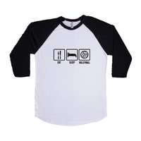 Eat Sleep Volleyball Routine Repeat Sport Sports Sporty Team Teams Games Exercising Exercise Fitness SGAL7 Baseball Longsleeve Tee