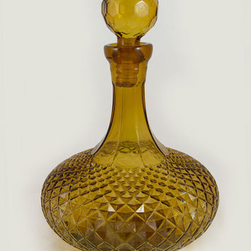 Mid Century Faceted Amber Gold Decanter with All-Glass Stopper