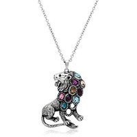 "32 "" Multi Color Crystal Lion Stainless Steel Necklace"