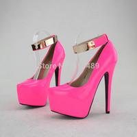 New Arrival 2014 16cm womens high heels pink shoes sexy pumps for night club good PU free shipping