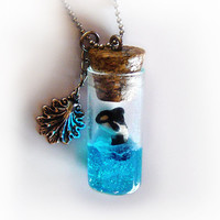 Orca whale in a bottle necklace, vial pendant