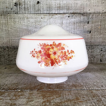 Milk Glass Lampshade with Yellow and Orange Floral Design Glass Lampshade Farmhouse Chic Glass Shade Glass Light Globe Antique Light Fixture