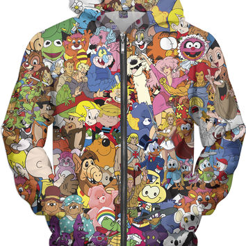 Totally 80's Cartoon Zip-Up Hoodie