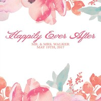 Custom Watercolor Backdrop Pink and Coral Flower Background (ANY TEXT) Wedding, Engagement, Shower) - C0173
