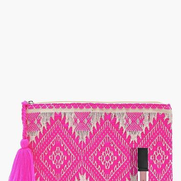 Lucy Sparkle Aztec Clutch | Boohoo