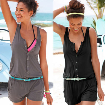 Vest Summer Sleeveless Women's Jumpsuit [10016484877]