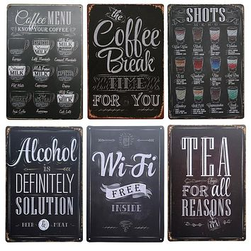 Shots Menu, Cafe, Bar, Pub Wall Decor Vintage Metal Sign Home Decor