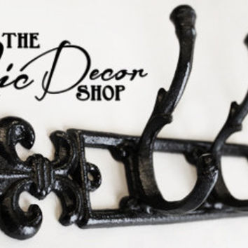 Metal Wall Hook, fleur de lis, Black Wall Hook, Key Holder, Bathroom Fixture, Coat Rack