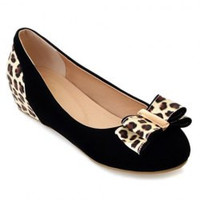 Sweet Bowknot and Leopard Print Design Women's Flat Shoes