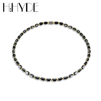 H:HYDE Men Women Necklace Hematite Magnet Golden Beads Magnetic Therapy Care Neck Black Natural Stone Ethnic Necklaces Jewelry