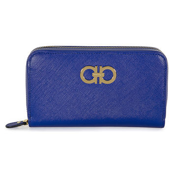 Ferragamo Sapphire Leather Zip Around Wallet