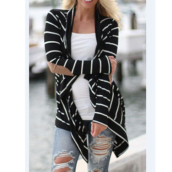 2016 Spring Autumn Women Sweater Black and White Striped Elbow Patching Casual PU Leather Long Sleeve Knitted Cardigan Fall Slim