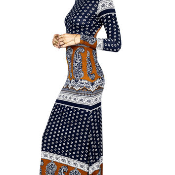 blackbird dress navy daisy paisley