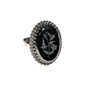 Whiting and Davis Etched Hematite Ring, Lily, Victorian Gothic Revival, Mourning Jewelry, Ring Size