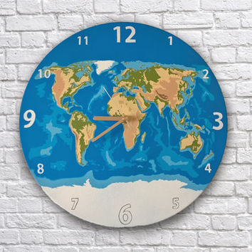 World map painted vinyl record clock. Planet Earth. Gift for traveler