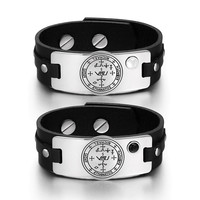 Archangel Michael Sigil Love Couples White Simulated Cats Eye Simulated Onyx Black Leather Tag Bracelets