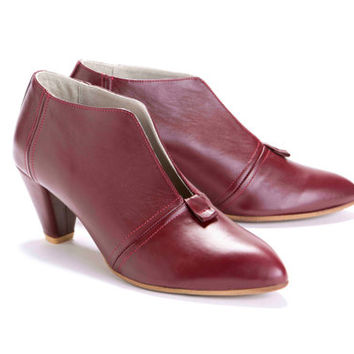 Womens Oxblood High Heel Ankle Shoes with V Cut // US size 4.5-11
