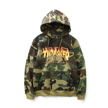 Thrasher Women Men Sportswear Hoodie Flame Skateboard Dead Fly West Hip-Hop Hooded Fleece Hoodie Top Sweater Sweatshirt