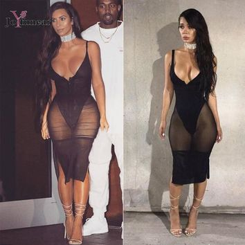 sexy clothing  Black Mesh  Bodycon woman  nightwear dress sleeveless sexy see through dress Club Party Vestidos