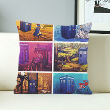 Tardis Police Box Disney - Design Pillow Case with Black/White Color.