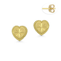 Flat Heart Charm w/ D-Cut Etching & Ribbed Outline Push-Back Stud Earrings in Matte-Finished 14k Yellow Gold - BD-ES040-14Y