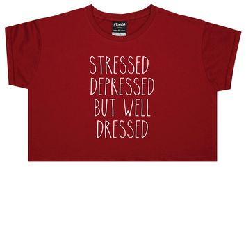STRESSED DEPRESSED CROP TOP