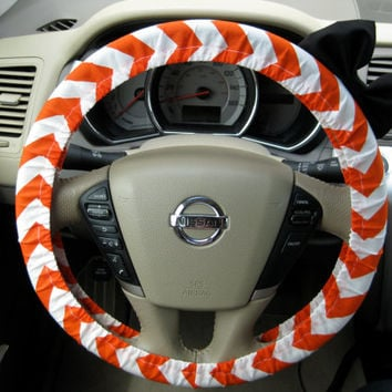 The Original Creamsicle Orange and White Chevron Steering Wheel Cover with Matching Black Bow