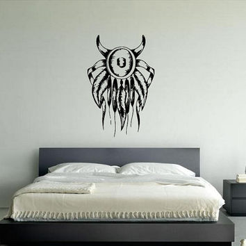 Wall Sticker Decal Room Decor Art Dream Catcher Native American With Horns 1329