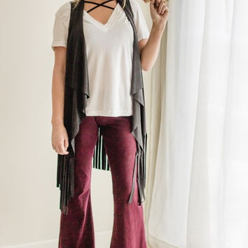 Stone Washed Bell Bottoms- Burgundy