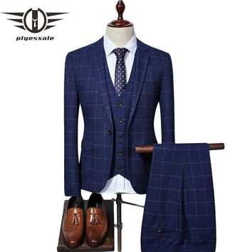 Men Suit Slim Fit Men Plaid Suits 3 Pieces Groom Wedding Suit Men's Suits Formal