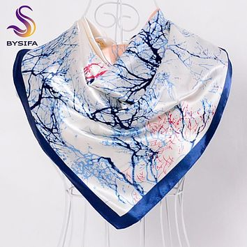 [BYSIFA] Silk Scarves China 2016 New Tree Pattern Female Large Silk Scarf Multi Head Scarves Luxury Blue Satin Winter Scarves