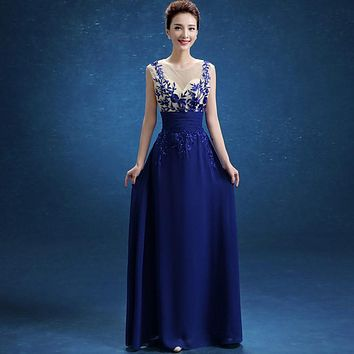 Hot selling Royal Blue Chiffon Evening Dress 2016 for special occasion cheap long prom dress for wedding party Vestido de festa