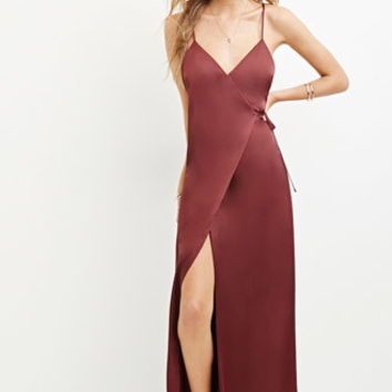 Satin Wrap Maxi Dress