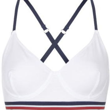 Sporty Stripe Bralet - White