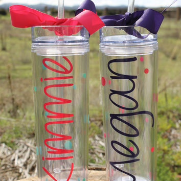 Set of 2 Tall Skinny Personalized Tumblers - Super Cute - Choose Fonts and Colors - Great Gift - Ribbon and Polka Dots Added