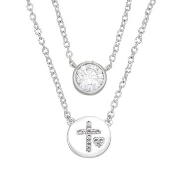 Silver Expressions by LArocks Cubic Zirconia Cross Disc Necklace Set (Grey)