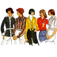 1970s VOGUE SHIRT PATTERN Front Button Shirt Turn Back or French Cuffs Vogue 2898 Basic Design UNCuT Womens Sewing Patterns Bust 36 Size 14