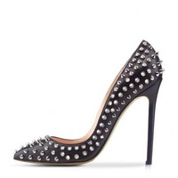 POSH GIRL Bebe Black Leather Studded Pumps