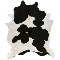 Harrow Cowhide Rug, Black and Ivory