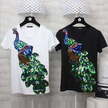 summer peacock sequin t-shirt female black and white short-sleeved cotton T-shirt women tops