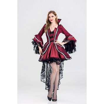 Red Gothic Victorian Halloween Costumes For Women Sexy Evil Queen Costume Adult Vampire Cosplay Outfit Fancy Dress