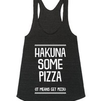 Hakuna Some Pizza-Unisex Athletic Tri Black Tank