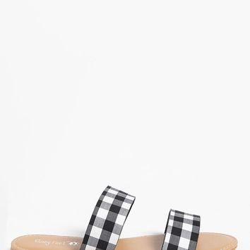 Gingham Double-Strap Sandals