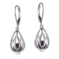 SYRUP Lever Back Earrings - Fashionable Sterling Silver and Amethyst,CZ