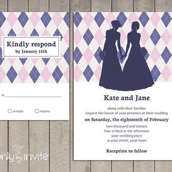 Lesbian Wedding Invitation and RSVP card set | Same Gender Wedding Invitations | Argyle Pattern | Bride and Bride