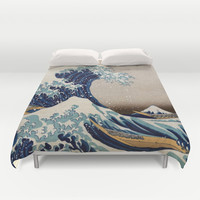 Under the Great Wave by Hokusai Duvet Cover by ArtMasters