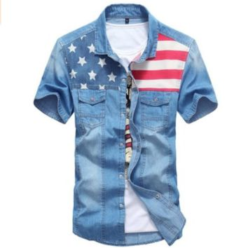 Mens American Flag Short Sleeve Denim Shirt
