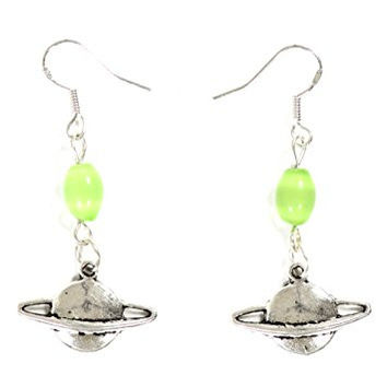 Planet Saturn Earrings Outer Space Silver Tone EG17 Dangle Earrings Fashion Jewelry