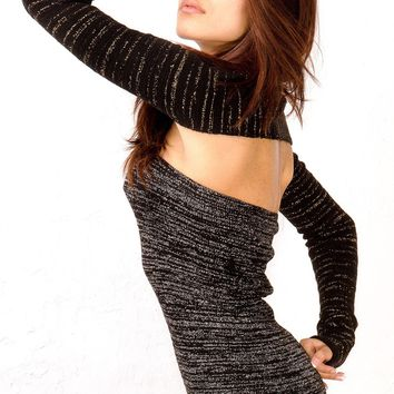 Metallic Striped Stretch Knit Pencil Shrug by KD dance New York Fun Chic & Durable Stripes Made In USA