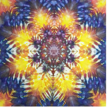tie dye tapestry wall hanging yellow orange blue